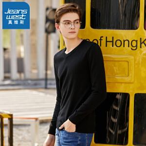 [超级大牌日每满299-150]真维斯毛衣男2018冬装新款男士纯棉V领长袖线衫韩版青年针织衫潮