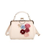 手包女包立体花朵珍珠斜挎包夹口单肩包大容量旗袍包包