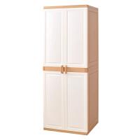 大容量双开门收纳柜子塑料自由组合整理柜宝宝衣柜储物柜鞋柜 米黄(配2钢管)