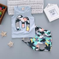 男童宝宝纯棉夏装短袖背心套装婴儿0-1-2-3周岁半夏季韩版潮童装