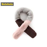 巴拉巴拉儿童围巾冬季新品韩版可爱保暖毛茸茸加厚女童围脖加绒女