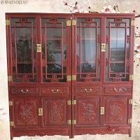 香樟木复古中式仿古雕花对开门带玻璃门家用书柜全实木制作可定制 0.8-1米宽