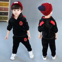 儿童春季金丝绒小宝宝童装男女孩黑色两件套男童加厚红色卫衣套装 黑色 金丝绒款
