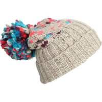 女士时尚保暖毛线帽 卷边软帽 大毛球帽 保暖帽