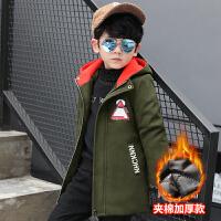 童装秋装男童呢子大衣2017新款韩版儿童毛呢外套中大童加厚装潮 绿色 印花三角形呢大衣