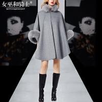 欧洲站2017早冬新款欧美时尚女装宽松毛领斗篷毛呢蝙蝠袖大衣外套