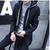 韩版时尚 新款港风时尚连帽男士棉衣韩版修身中长款棉服小棉袄子