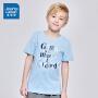 [限时秒杀:33元,满99-10元/满199-30元,仅限8.16-19]真维斯男童 2019夏装新款  纯棉平纹印花圆领短袖T恤