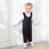 儿童鸭绒背带连体裤1-5岁婴儿连体羽绒马甲 宝宝羽绒背心爬服开档