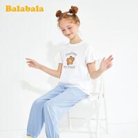 巴拉巴拉童装夏装儿童套装女童网红套装 洋气大童防蚊裤