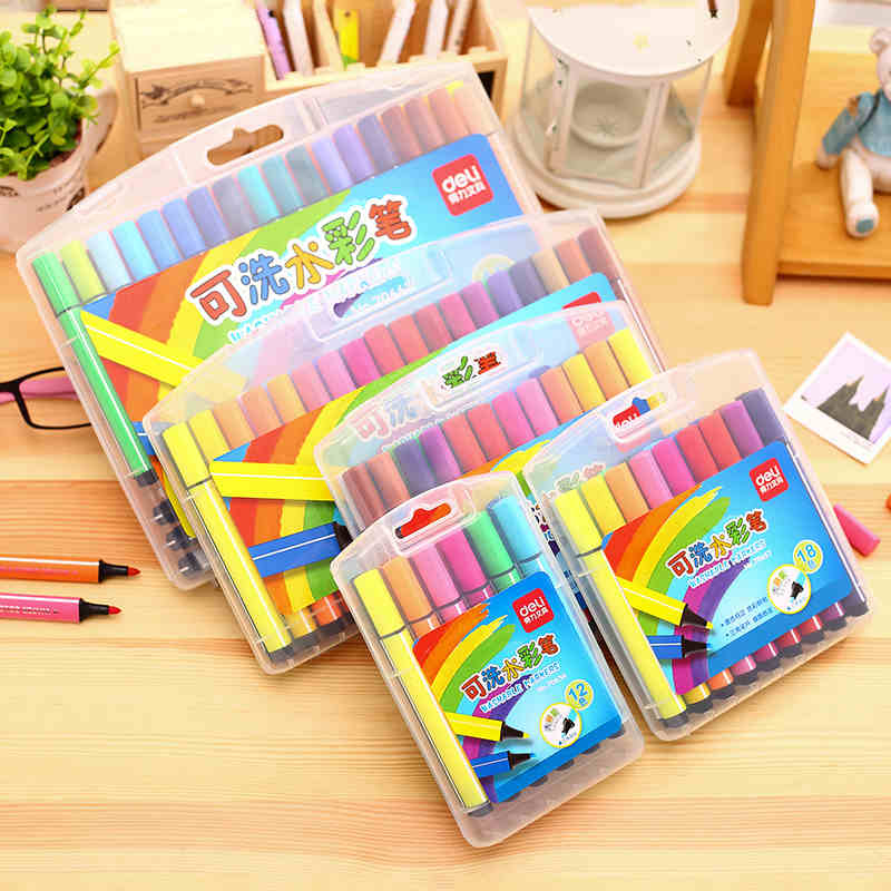 得力可洗水彩笔36色大容量三角杆儿童绘画笔学生涂鸦笔涂色礼盒笔多省包邮 三角笔杆 可水洗 大容量