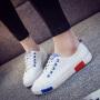 【清仓特价】2017夏款小白鞋透气镂空皮面板鞋平底系带学生时尚休闲鞋