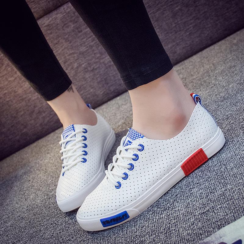 【清仓特价】2018夏款小白鞋透气镂空皮面板鞋平底系带学生时尚休闲鞋