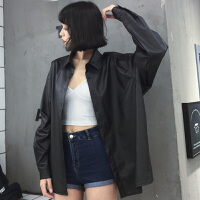 春装韩版学院风时尚PU皮外套200斤胖MM加肥加大码宽松显瘦PU夹克