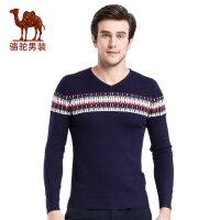 骆驼男装 秋季新款套头V领撞色时尚休闲长袖毛衣 男士毛线衣