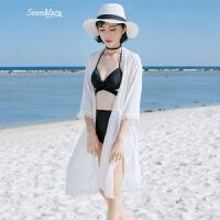 普吉岛沙滩度假气质中袖开衫比基尼外搭遮阳罩衫性感侧开叉中长款 白色 均码