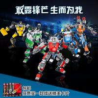 星钻积木玩具积变战士3变积木玩具 拼装益智机器人五合体5大套装