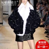 女巫2017冬季新款欧美长袖格子大毛领呢子大衣皮毛一体加厚外套女