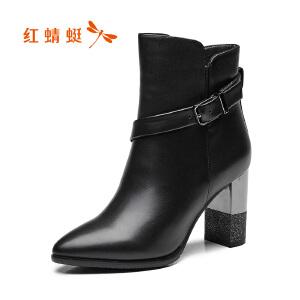 红蜻蜓女鞋2017秋冬新款时尚尖头高跟短靴简约百搭粗跟短筒女靴子