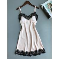 性感睡衣女夏季带胸垫吊带冰丝诱惑修身蕾丝绸睡裙家居服睡衣