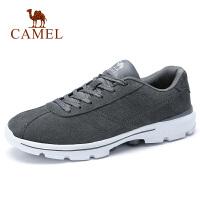 camel骆驼男鞋 秋季新品健步运动鞋休闲反绒时尚复古系带慢跑鞋