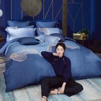 LOVO家纺 全棉100支轻奢四件套欧洲新锐设计高支高密床单被套件 月光
