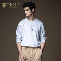 PINLI品立2020秋季新款男装纯色套头打底长袖T恤男体恤B203311594