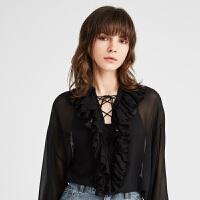 【11.11当天 到手价:678元】DAZZLE地素 2019春装新款轻薄微透绑带设计花边衬衫女 2G1D5031A