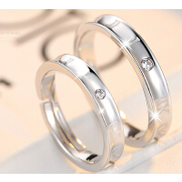 情侣戒指 一对 925银饰品 开口 日韩版活口对戒男女原创意礼物可刻字