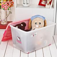 爱丽思IRIS 可爱大号有盖宝宝箱子塑料收纳箱带滑轮整理箱