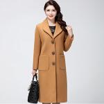 秋冬季新款妈妈装中长款大衣中老年大码韩版翻领中年女装外套  bj-F188-802