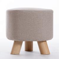 家逸 实木小凳子沙发脚凳 儿童小矮凳 布艺换鞋凳 穿鞋软坐凳 三腿户外休闲凳