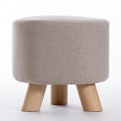 家逸 实木小凳子沙发脚凳 儿童小矮凳 布艺换鞋凳 穿鞋软坐凳 三腿户外休闲凳加粗实木腿 整装发货