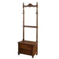 美式衣帽架落地实木挂衣架卧室多功能换鞋凳储物柜欧式门厅柜组合