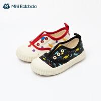 迷你巴拉巴拉女童帆布鞋2021春款一脚蹬透气防滑耐磨休闲鞋子