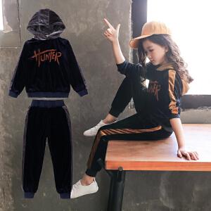 童装2019春秋新款女童HUNER丝绒套装儿童长袖上衣+长裤女孩两件套