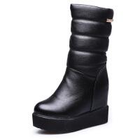 2018冬季高筒加绒雪地靴女棉鞋松糕厚底内增高短靴坡跟中筒靴