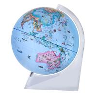 博目地球仪:30cm中英文政区少儿趣味地球仪(球体彩绘动植物、建筑物等自然、人文景观,中英文双语标注,手触式LED感应灯,透明三角架)