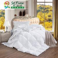富安娜家纺 圣之花 全涤提花被芯羽绒冬被被芯 珍爱羽绒冬厚被 白色 1.8m床适用
