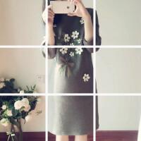 韩版冬装大码女装胖mm200斤加绒加厚长袖连衣裙中长款打底裙