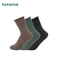 Hotwind2018年冬季新款女士卷边胶印高帮袜P083W8400