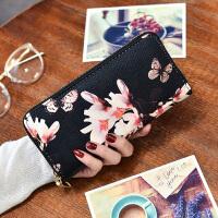 新款韩版女士手拿钱包女长款拉链多功能包学生ins个性菱格腕带包手机 花朵蝴蝶 不带手拎带
