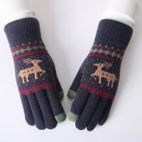 毛线手套女秋冬季时尚韩版针织保暖触屏手套学生骑车手套冬天