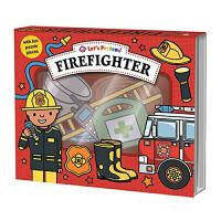英文原版Let's Pretend Firefighter消防员 翻翻玩具书 拼图书游戏盒