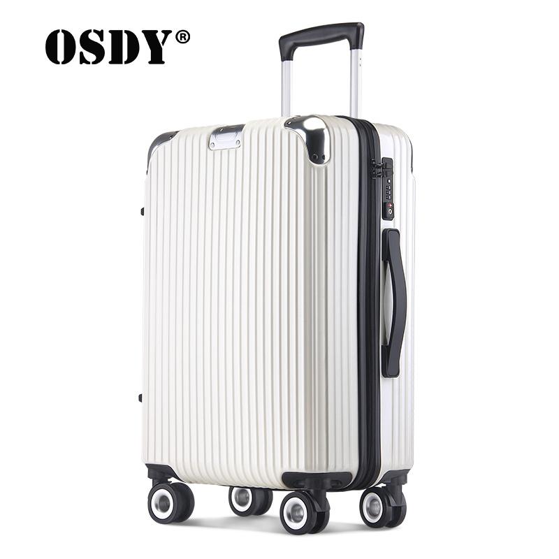 OSDY20寸拉杆登机箱金属包角行李箱万向轮旅行箱A817时尚铝框箱
