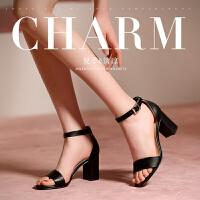 公猴夏季新款凉鞋女韩版粗跟高跟鞋百搭一字扣带罗马高跟女鞋