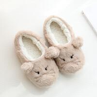 秋冬季棉拖鞋女包跟软底毛毛拖鞋可爱保暖家居家室内厚底拖鞋冬天