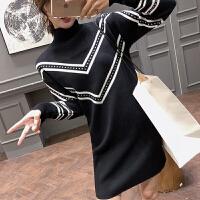 赫本法国小众高腰连衣裙法式复古山本风超仙针织短裙子秋冬季女装 黑色