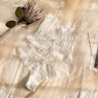 初雪白色透明�纫陆廾�蕾�z性感文胸�妊�套�b夏 白色 M