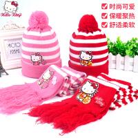 Hello Kitty宝宝帽子围巾两件套冬女童帽子加绒儿童帽子围脖套装